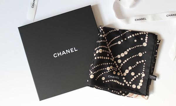 chanel pearl print silk scarf