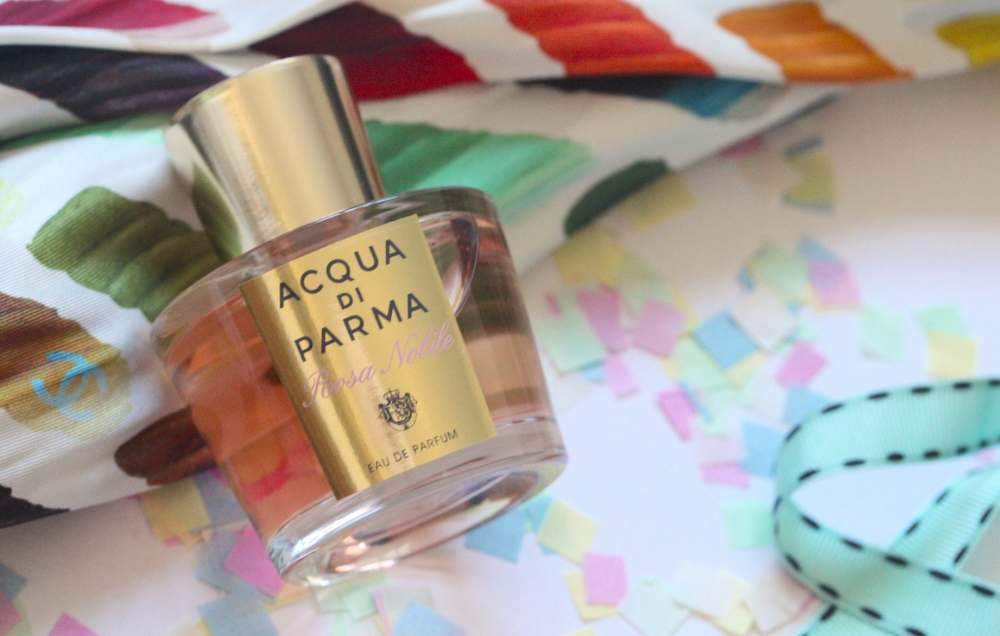 acqua di parma rosa noble perfume fragrance cologne with chanel ss14 colour swatch paint palette scarf silk square fashion blogger