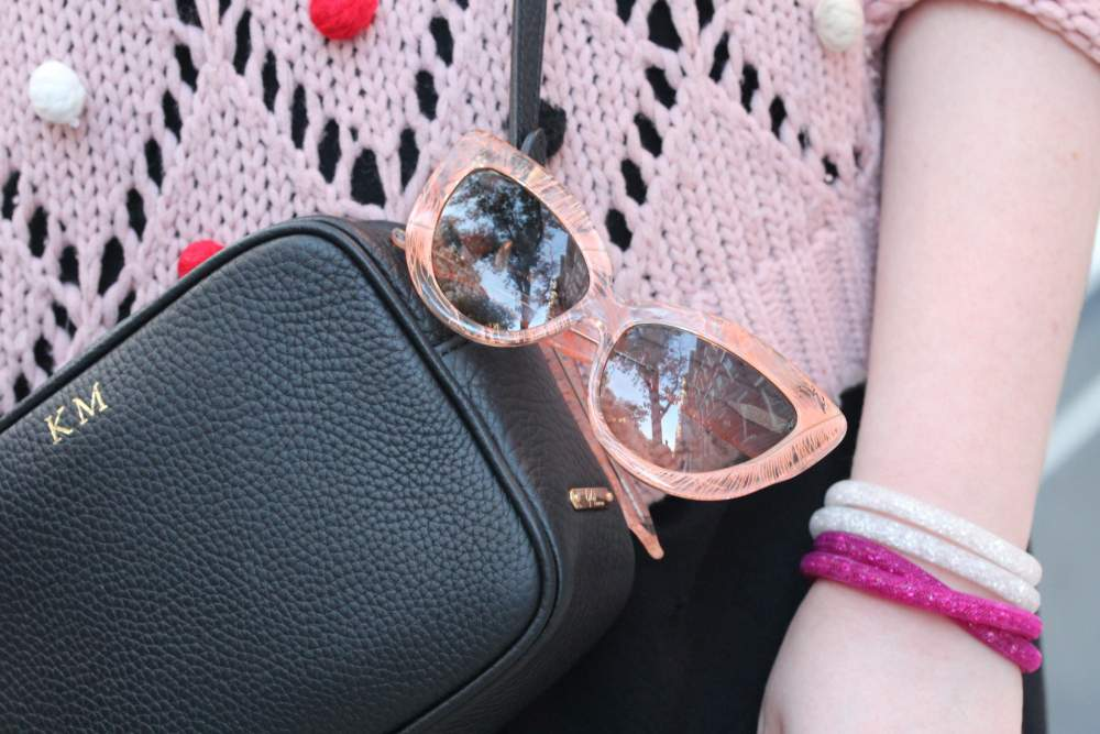 charlotte olympia x linda farrow sunglasses feather cat eye glasses gigi new york handbag monogrammed Swarovski stardust bracelet  bracelets pink silver
