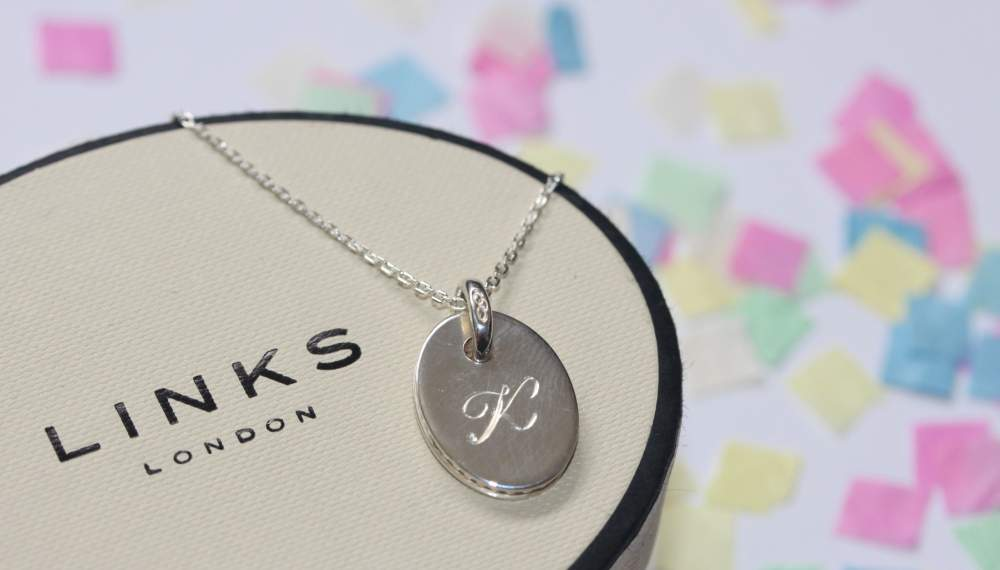 Links Of London Necklace Initial Engraved Designer Jewellery Bespoke Christmas Gift Solid Sterling Silver