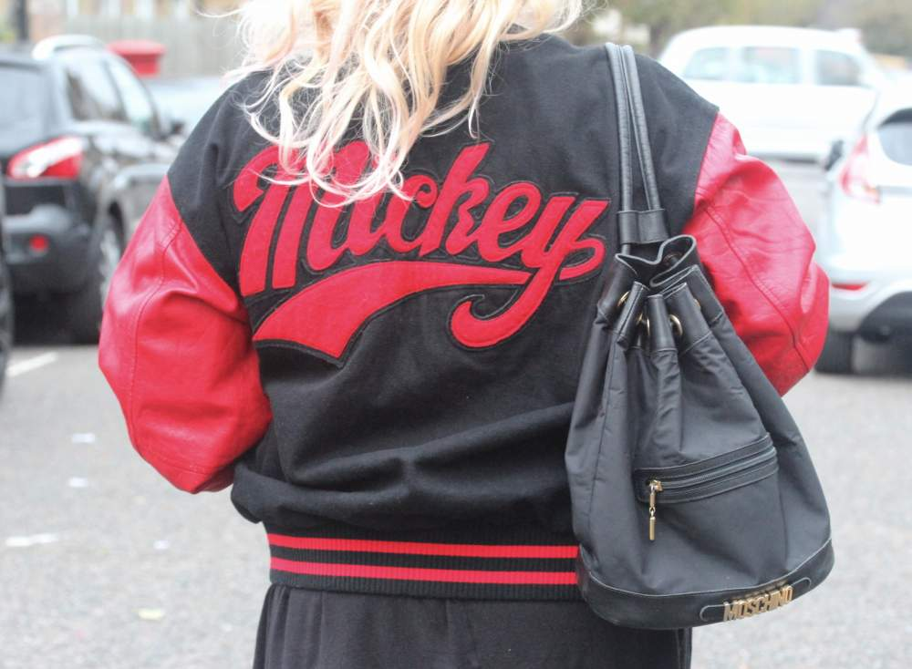 vintage mickey mouse jacket letterman vintage moschino bucket bag duffel duffle fashion blog personal style my style british beauty blog fashion blogger lifestyle ootd wordpress
