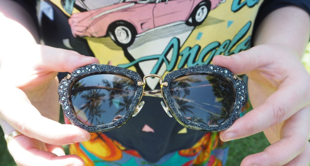miu miu crystal sunglasses cat eye shape