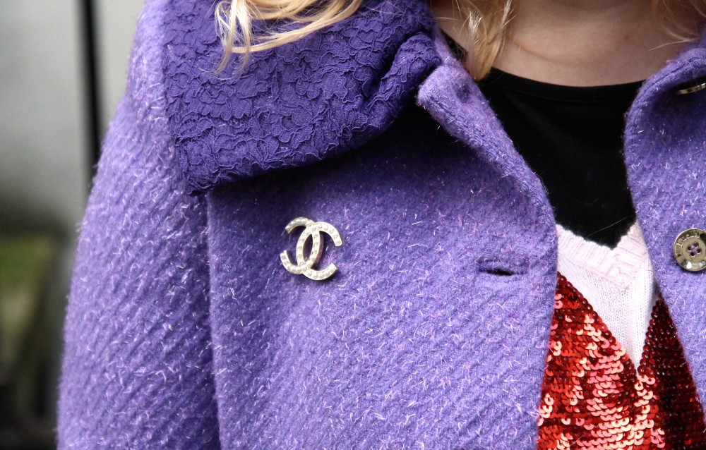luella purple coat collar with chanel interlocking c brooch