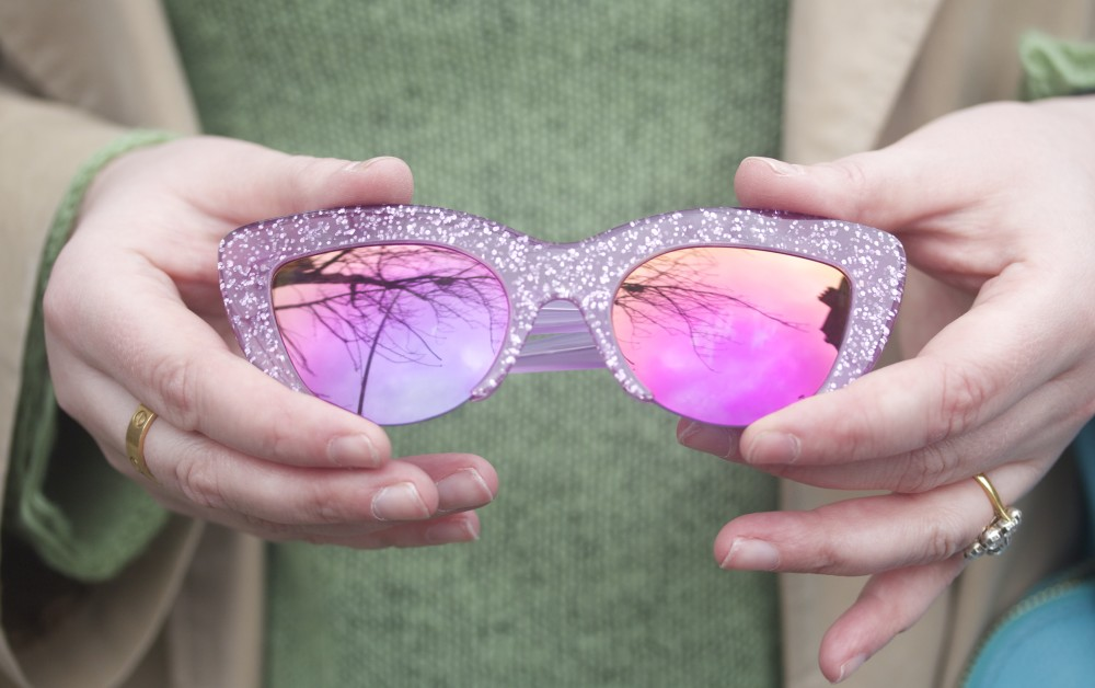 pink glitter vow london sunglasses