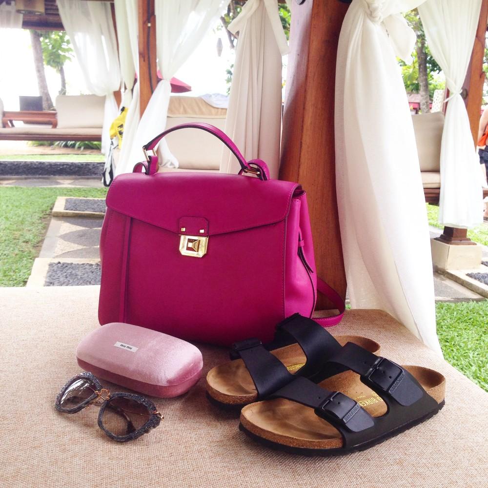 pink kelly style mcm worldwide handbag