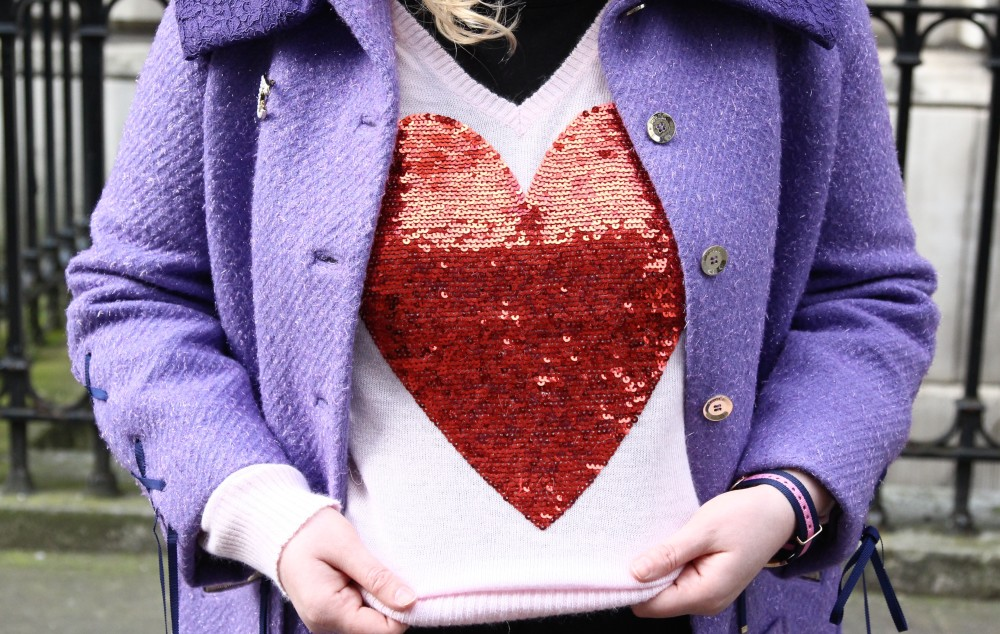 wildfox heart jumper with red sequins on sale