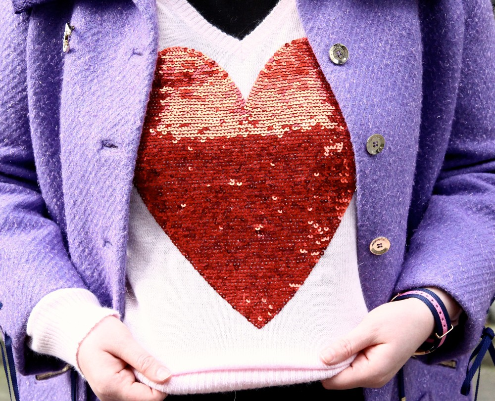 wildfox red sequinned heart jumper brandalley