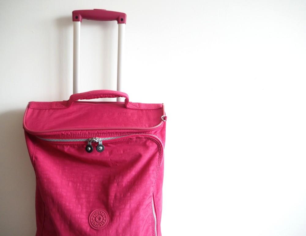 kipling suit case troll pink