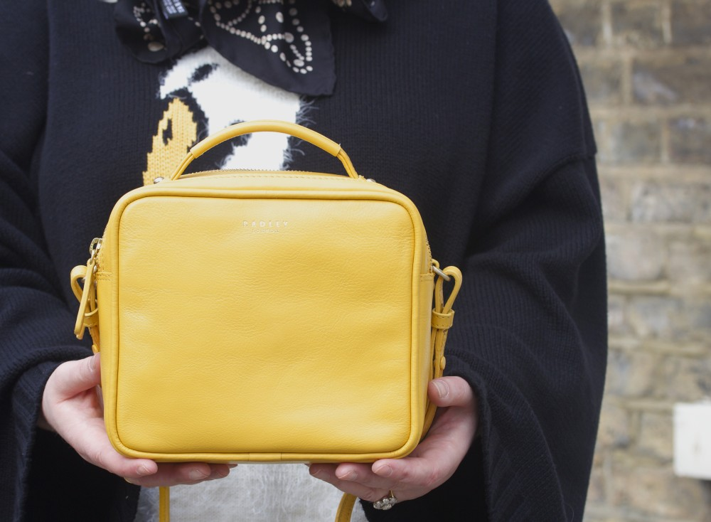 radley london yellow square handbag victoria park bag yellow wildfox swan jumper pearl print chanel scarf hush puppies shoes fashion blog blogger personal style ootd wordpress london uk best fashion blogs