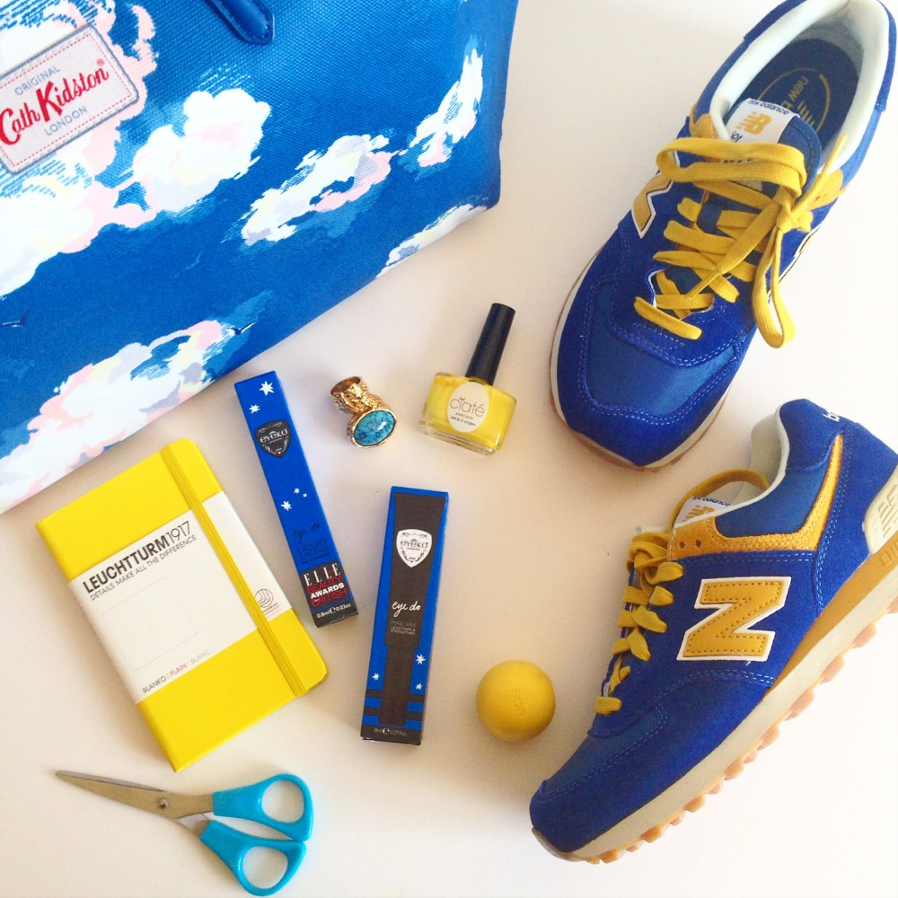 cath kidston cloud print handbag with new balance blue and yellow trainers retro