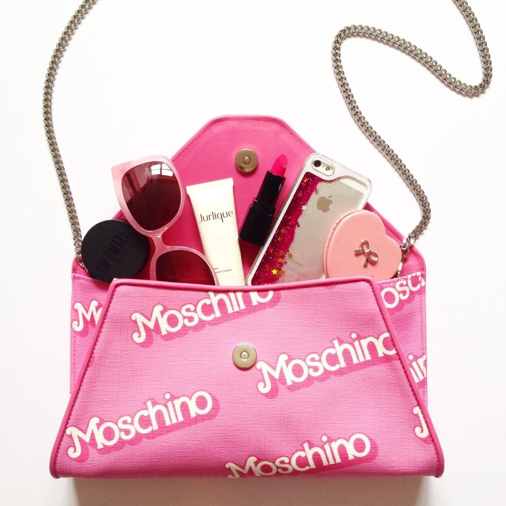 moschino barbie handbag clutch pink
