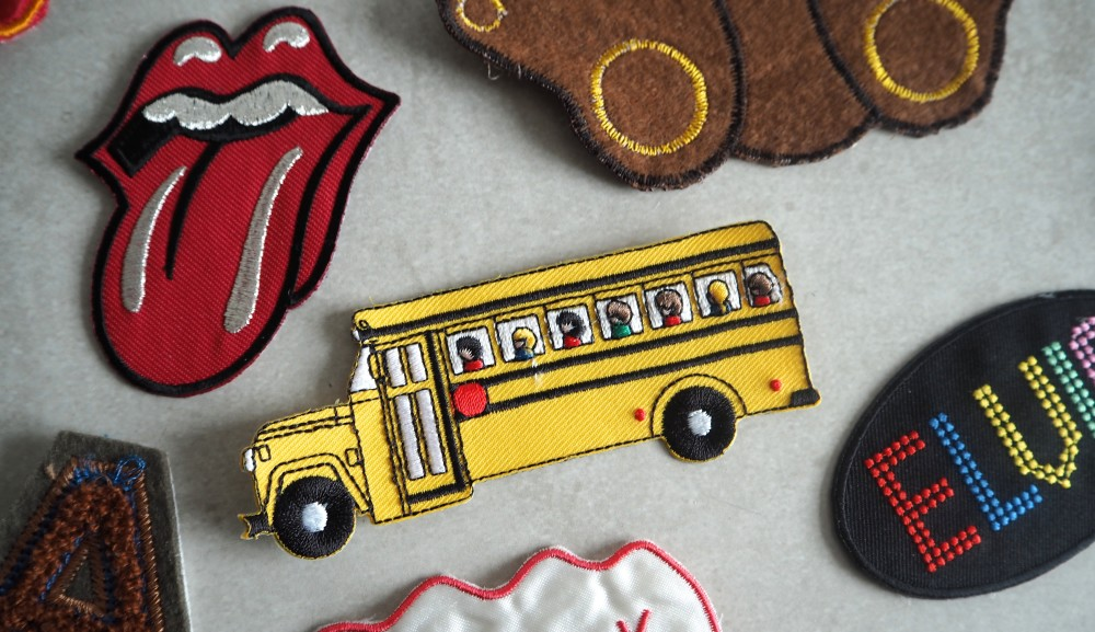 vintage retro novelty cute style sew on craft patches  letters and numbers letterman patches fighting fists punk school bus style rolling stones