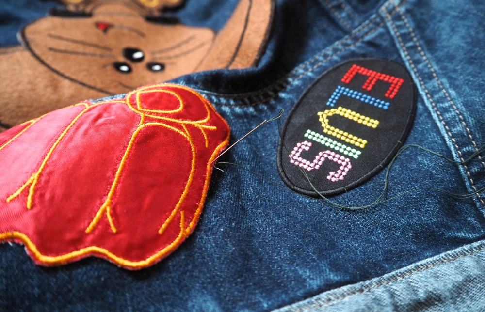 work in progress vintage denim jacket with patches all over  diy tutorial craft