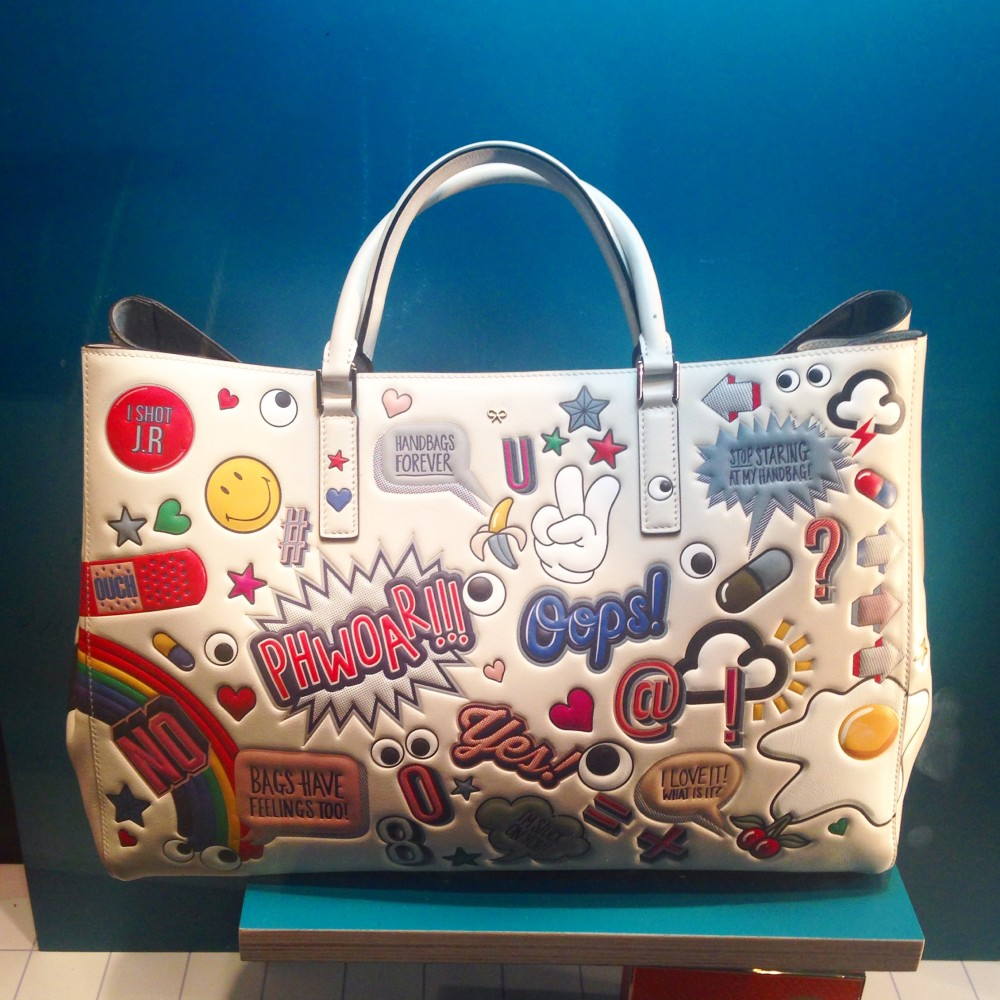 anya hindmarch sticker shop tote bag handbag