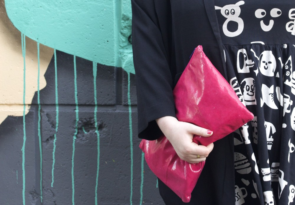 pink american apparel pouch clutch bag large extra large