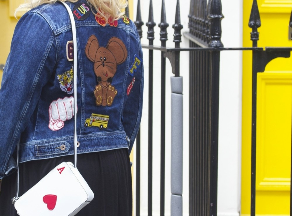 asos playing card handbag and patched denim jacket