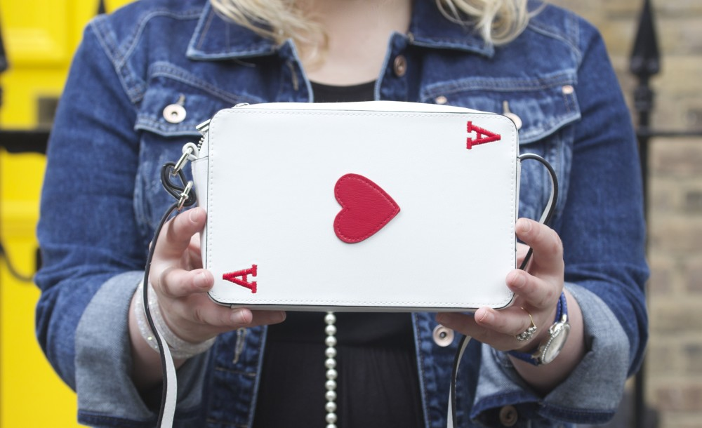 asos playing card themed handbag