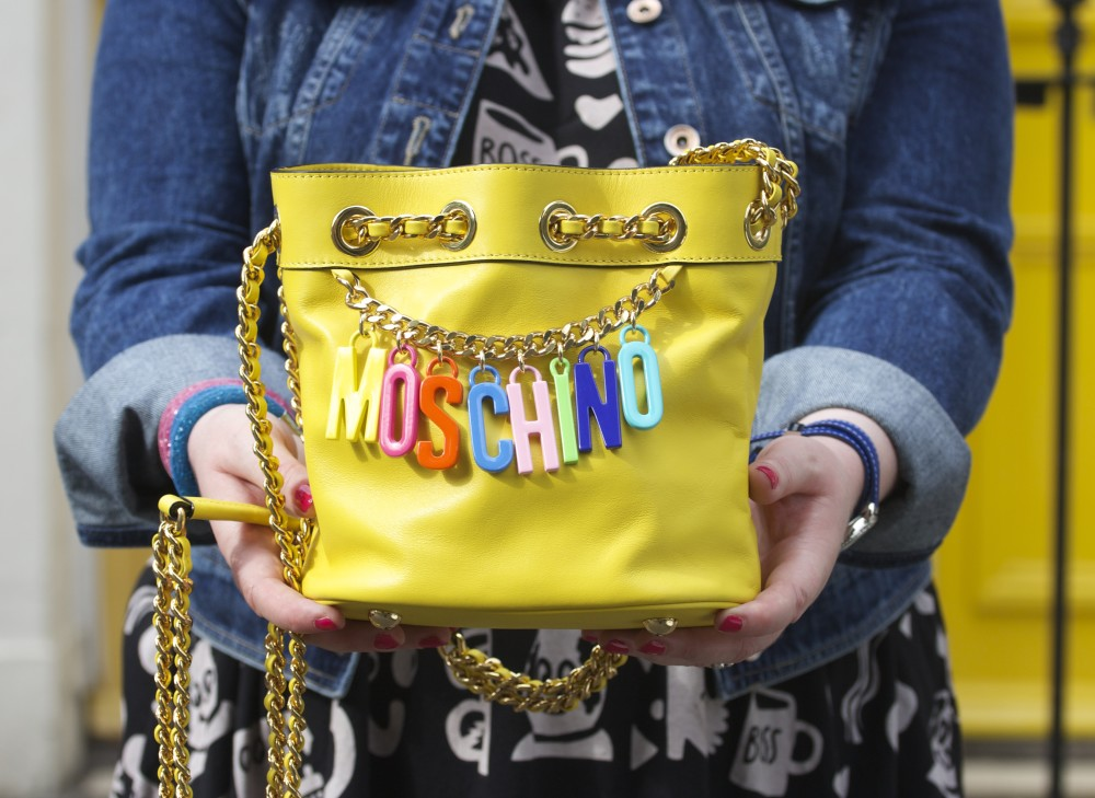 yellow moschino handbag bucket bag shoulder bag multicoloured letters logo