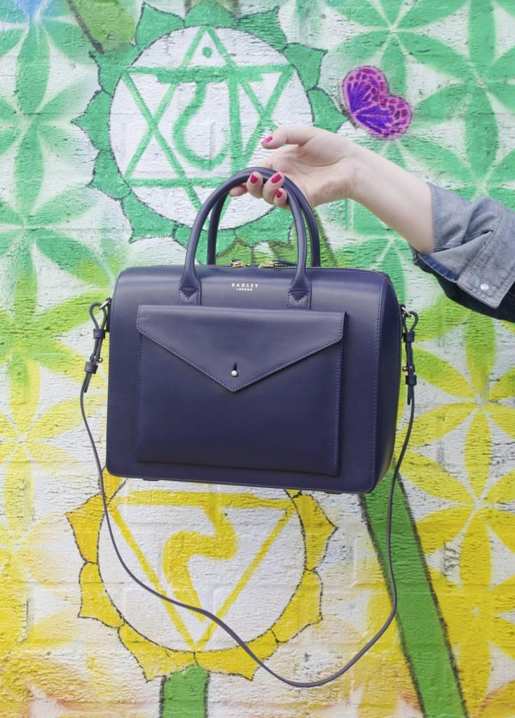 john keats radley handbag navy blue