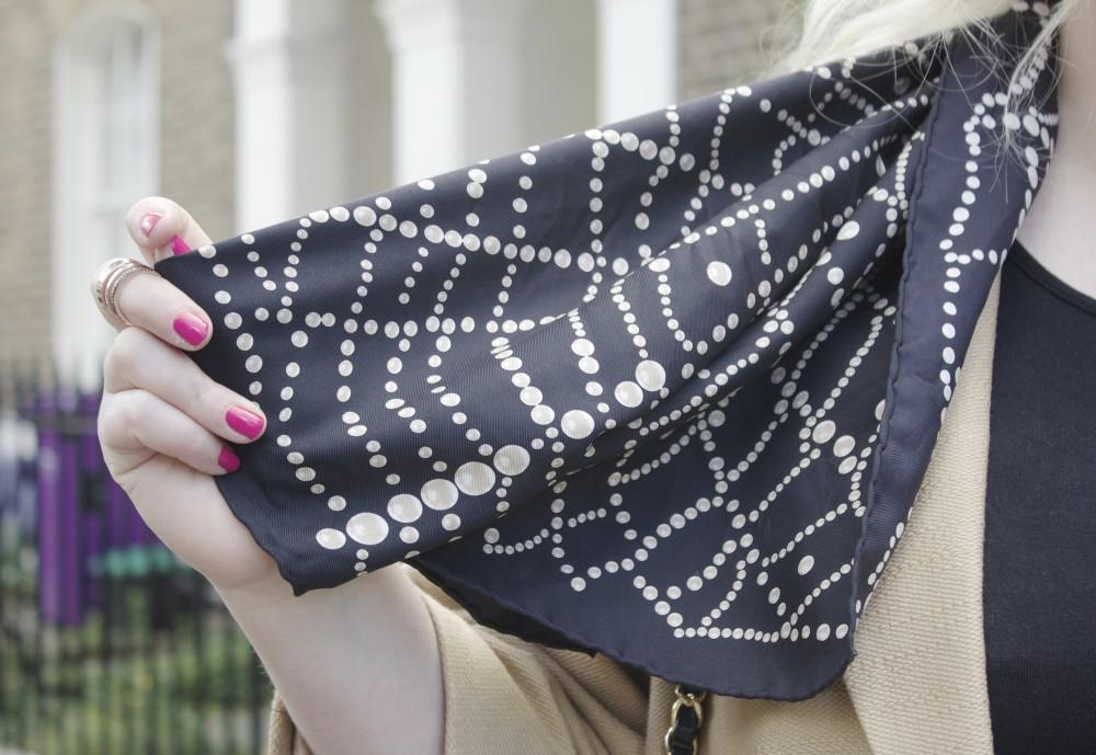 chanel scarf pearl print printed