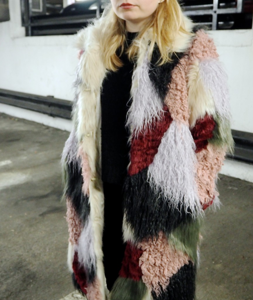 asos fur patchwork coat furry