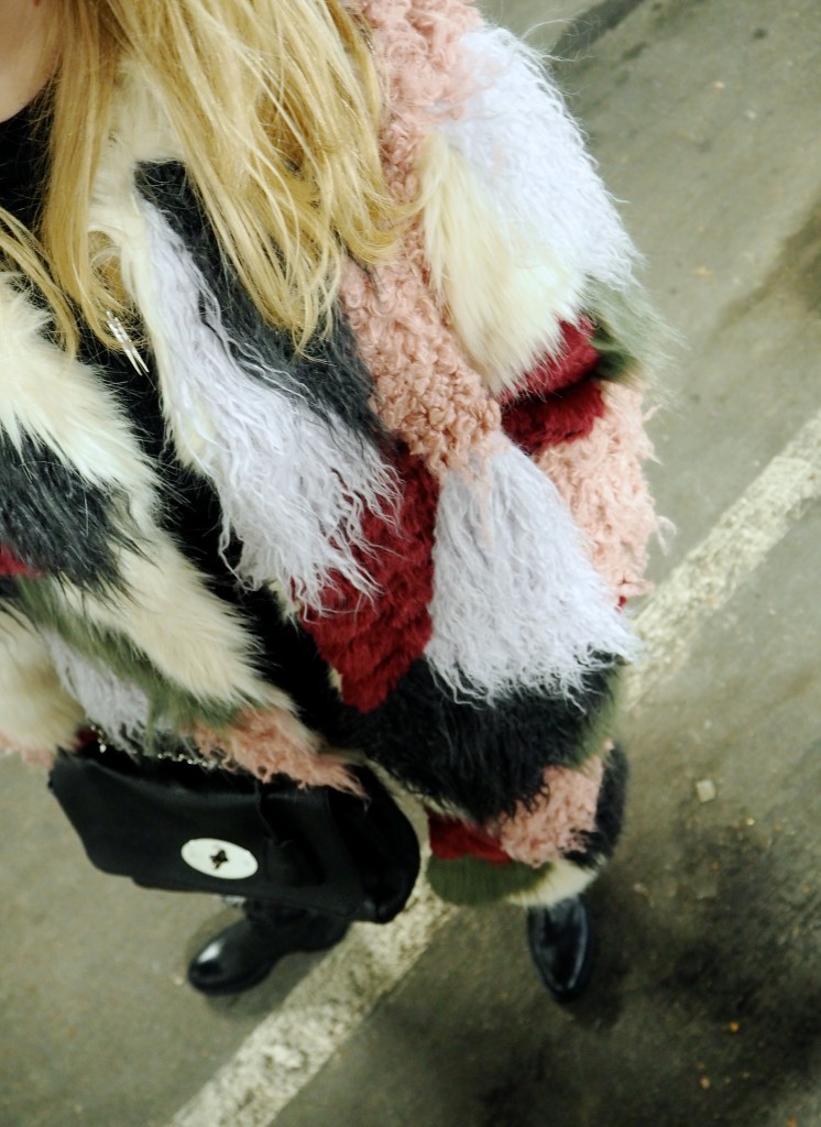 asos fur furry coats patchwork winter multicoloured fur twinning sisters blog blogging bloggers