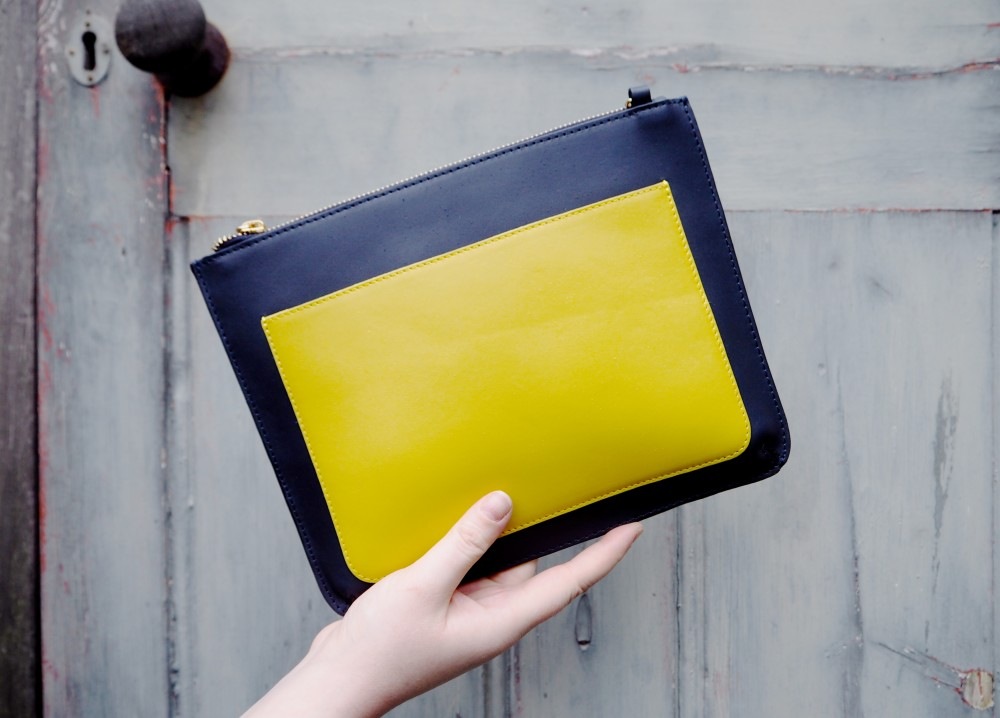 Ootd wearing yellow in winter fashion for lunch for Boden yellow bag