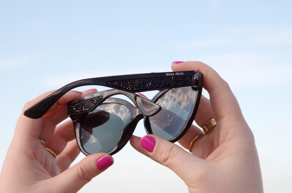 miu miu sunglasses black frames crystals crystal arms temples