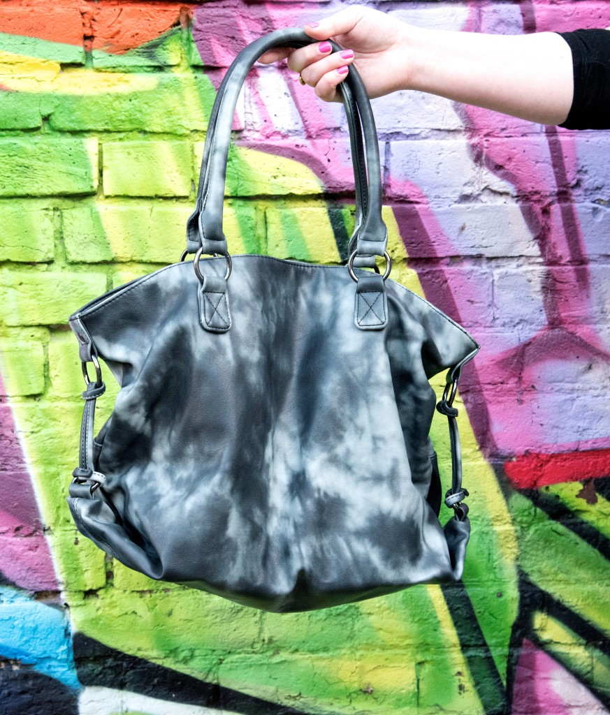 next black tie die handbag tote bag