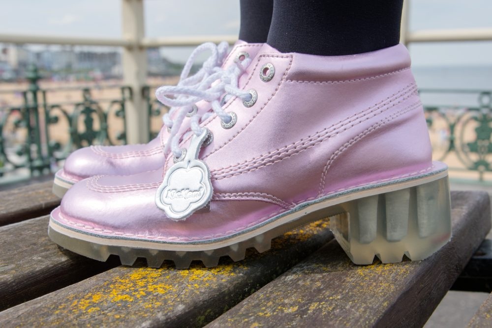 baby pink metallic kickers shoes boots