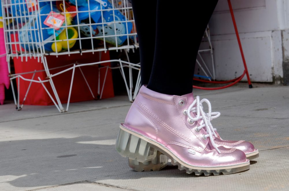 pink shine metallic kicker shoes boots