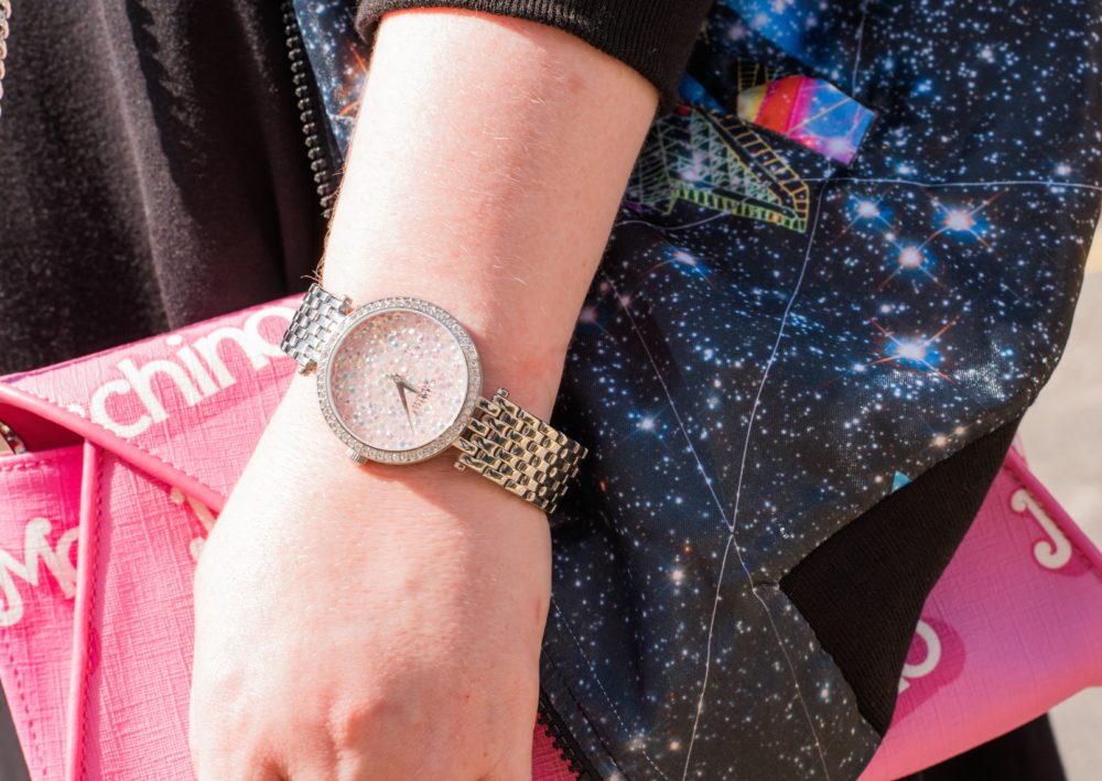 caravelle new york pink crystal watch