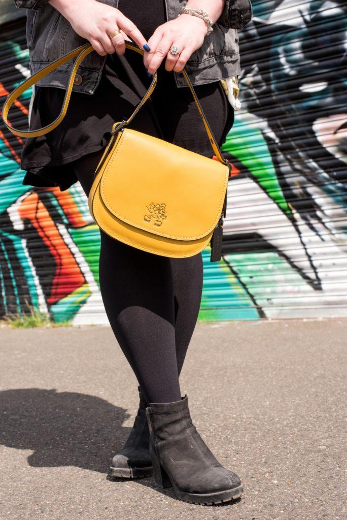 disney x coach handbag yellow saddle bag collaboration