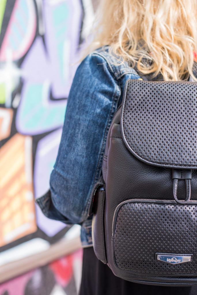 kipling black leather backpack