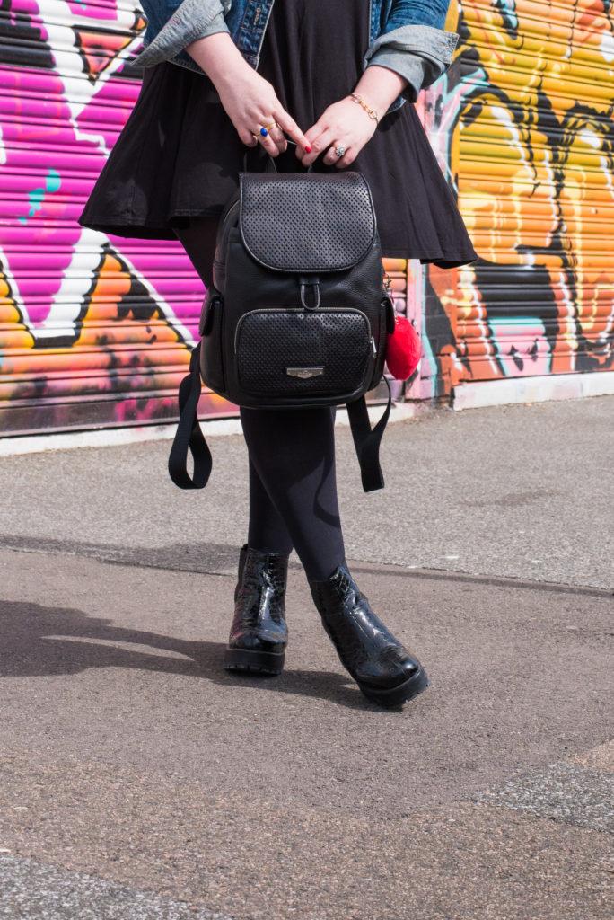 kipling england london black leather backpack