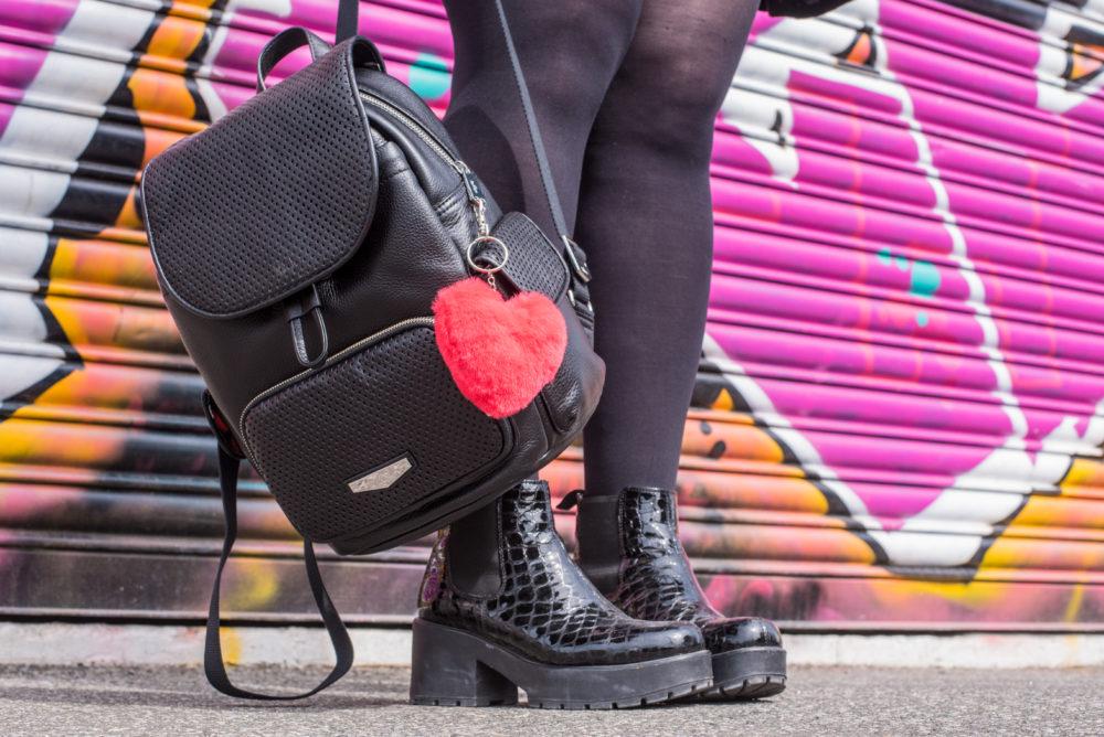 kipling london black leather luxe backpack