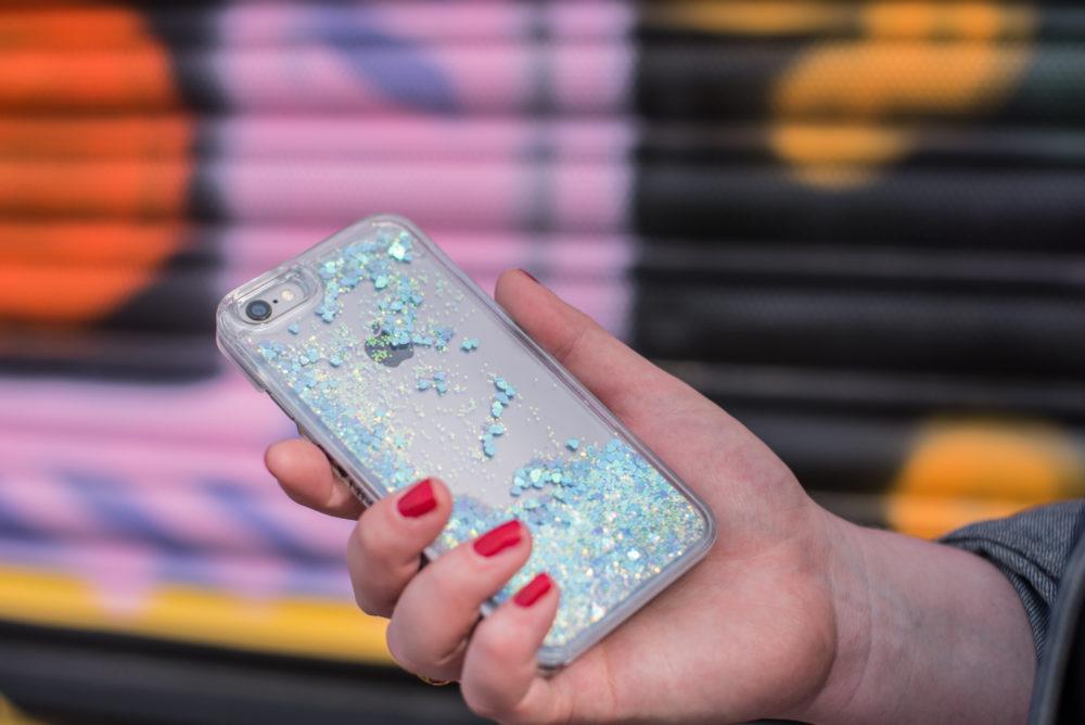 skinnydip london glitter liquid iphone case