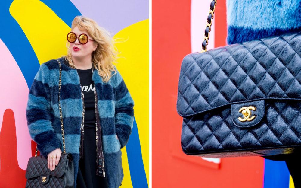 black-chanel-handbag-gold-hardwear-and-blue-fur-coat
