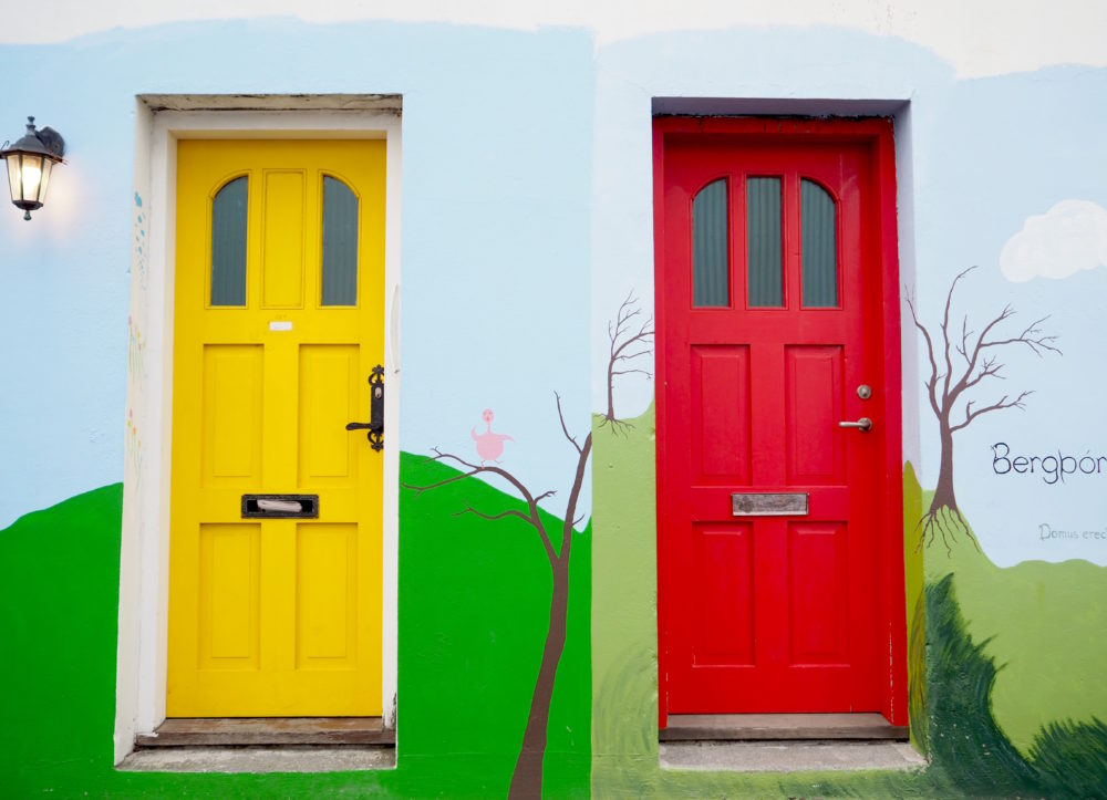 red-and-yellow-doors-in-Reykjavik