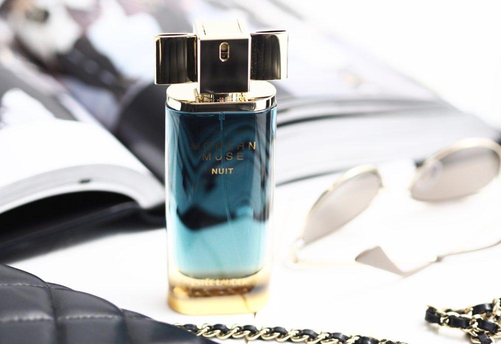 Estée-Lauder-Modern-Muse-Nuit-perfume-fragrance-chanel-handbag-flatlay