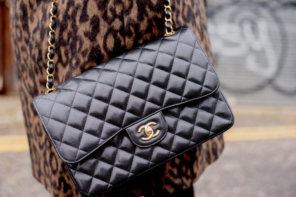 chanel black caviar handbag jumbo