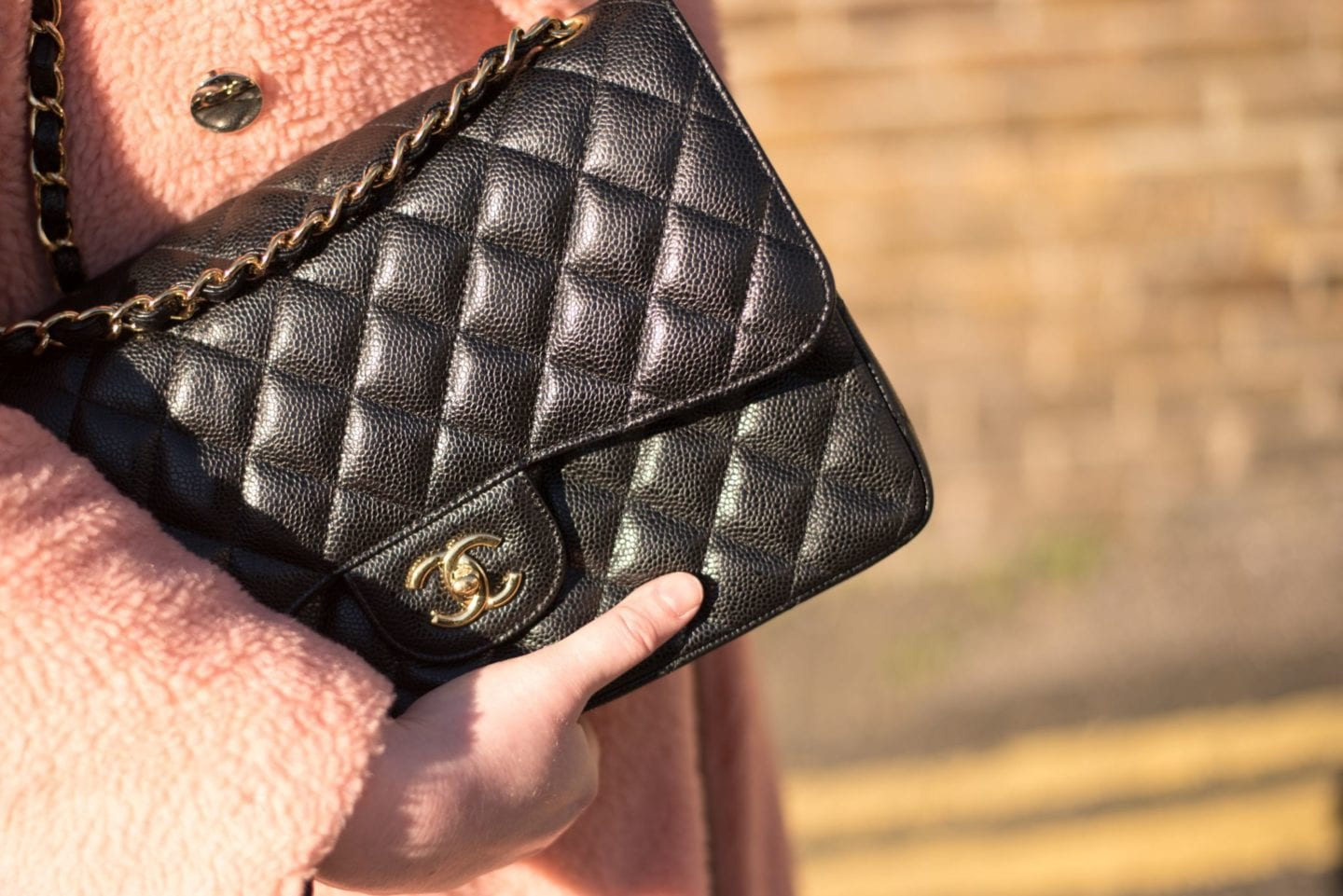 chanel handbag jumbo clutch black caviar