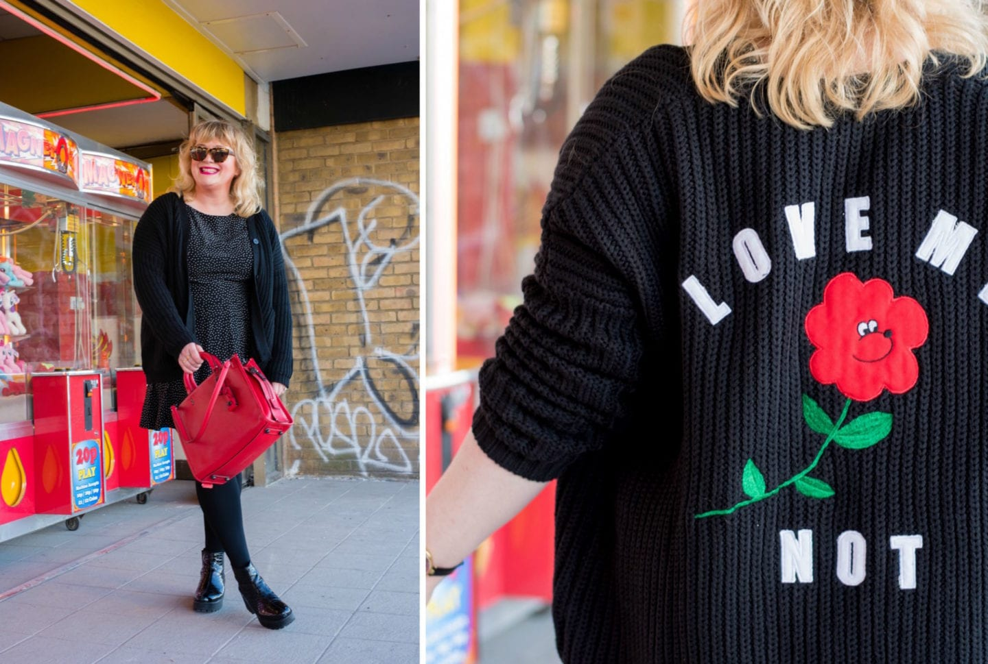 lazy oaf black cardigan love me not