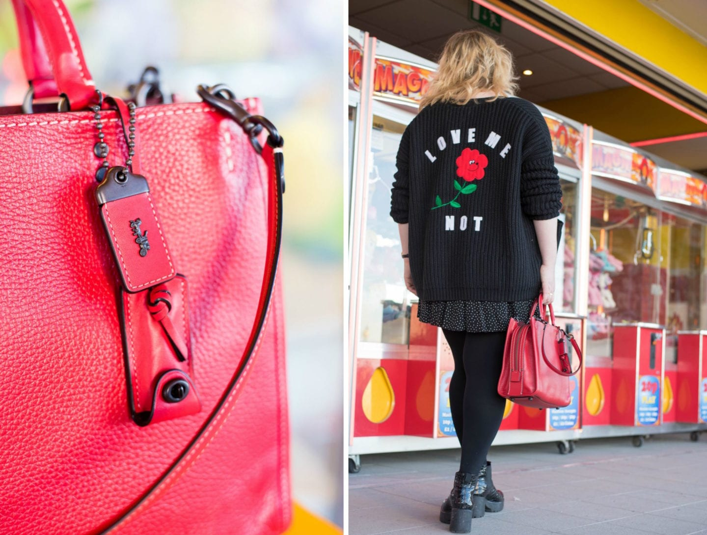 lazy oaf forget me not cardigan with coach rogue handbag