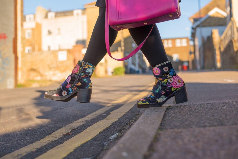 velvet floral flower print boots next