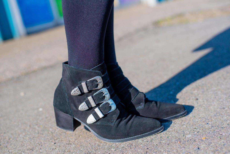 asos western boots black suede buckles