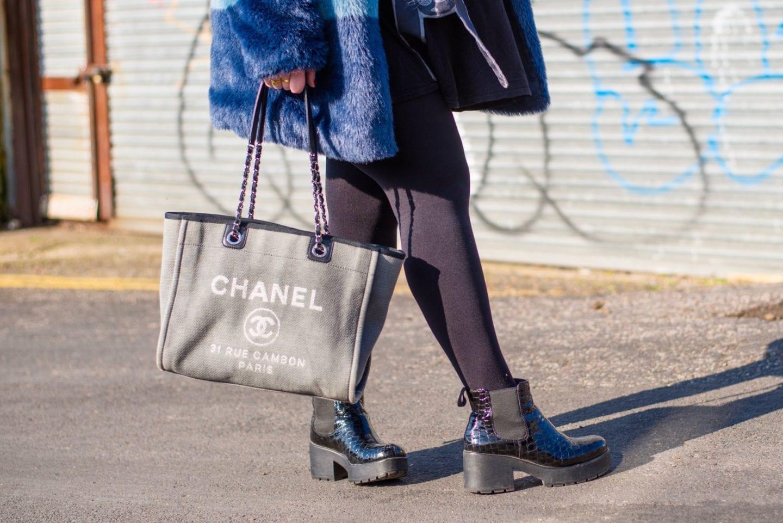 vintage heriloom handbag chanel canvas beach tote bag