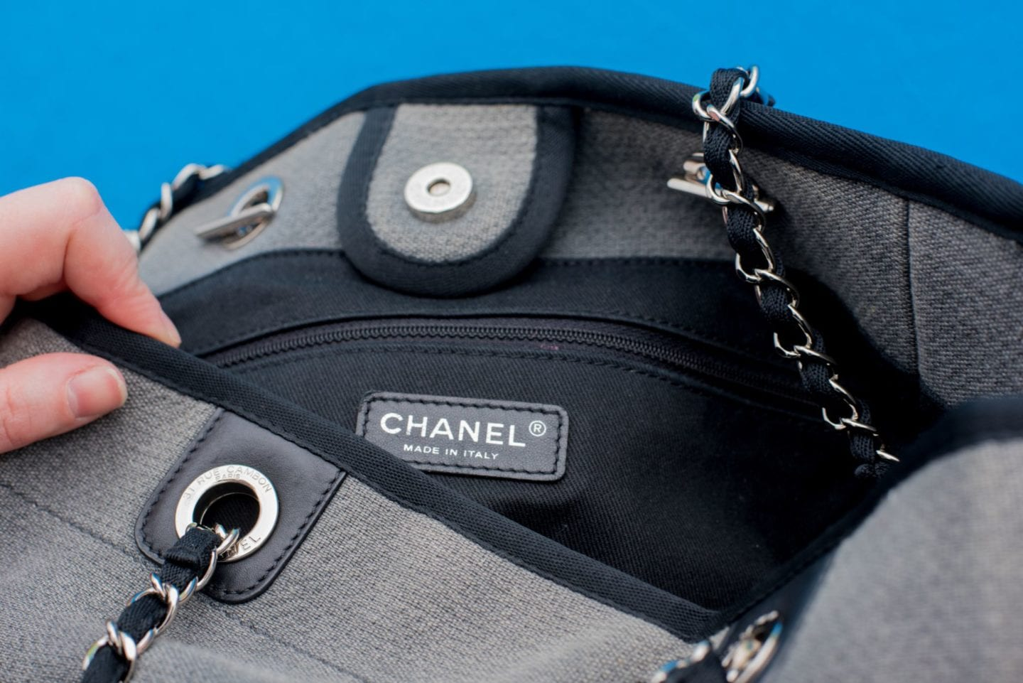 Chanel Deauville Tote Bag detail grey canvas tote bag branding