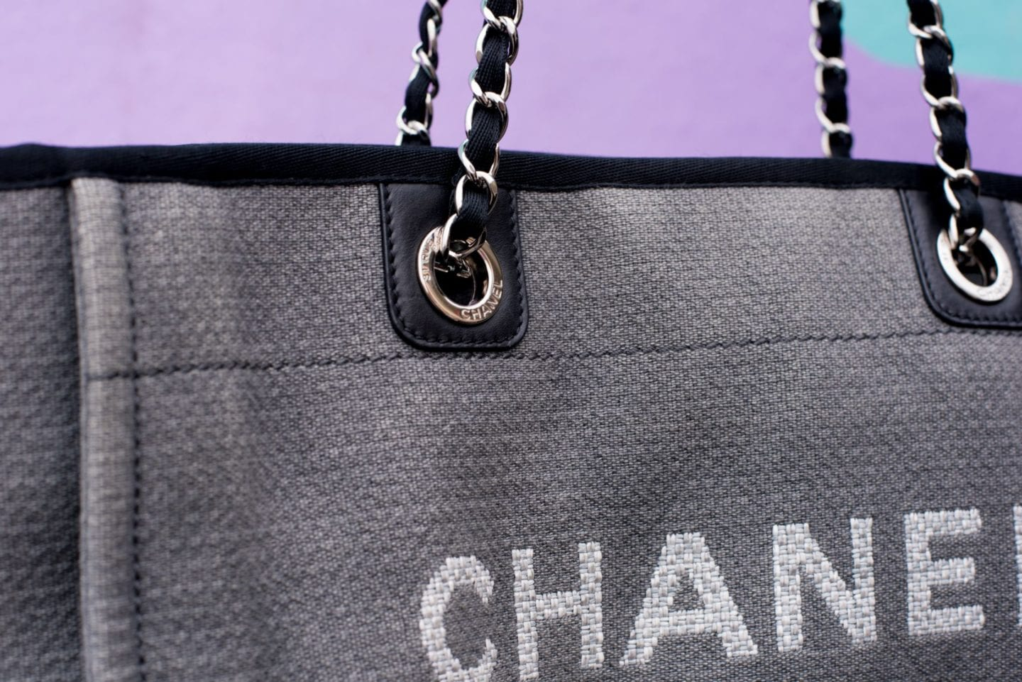 Chanel Deauville Tote Bag detail grey canvas tote bag eyelets