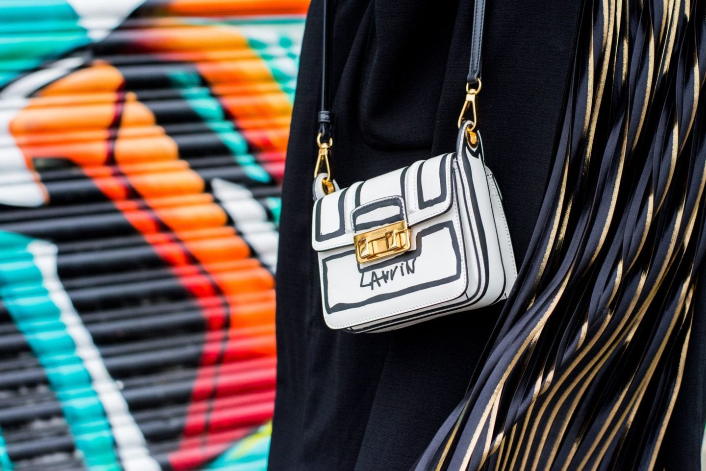 Lanvin Trompe L'Oeil Handbag white black